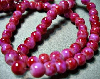 Jade Glass Beads Pink Round  6MM