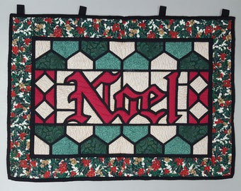 Quilted Stained Glass Christmas Wall Hanging - Noel