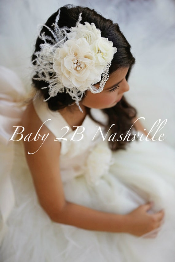 Ivory Wedding Hair Accessory Bridal Hair Clip Flower Girl Hair Deluxe Floral Feather Barrette Over the Top