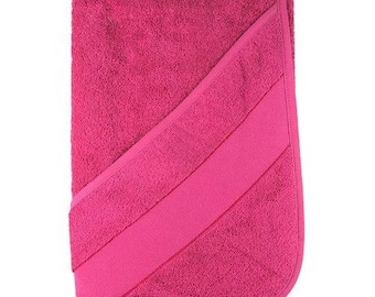 Towel with embroidery stripe and baby with hood, 75 x 75 cm, Fuchsia 100% cotton