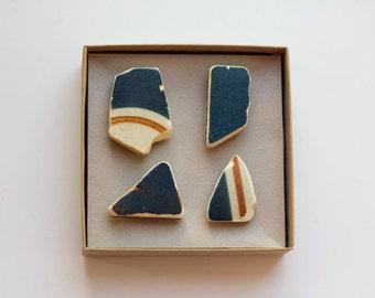 Blue Ceramic Magnets | Sea Beach Finds Ceramic Magnets Set of 4, blue orange pottery shard, stripe ceramic, Israel sea Magnets super strong