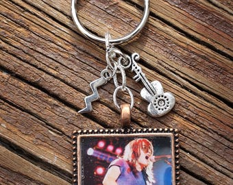AC/DC Malcolm Young custom square resin photo pendant key chain - Malcolm Live in Concert early 1980's