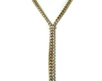 Vintage Rhinestone Lariat Necklace