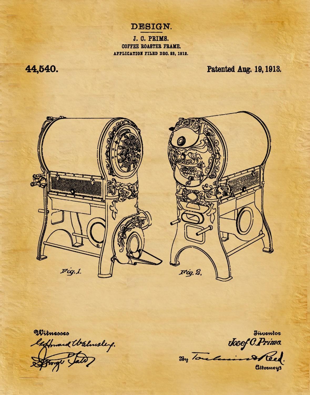 Patent 1913 Coffee Roaster - Wall Art Print - Kitchen Art- Poster ...