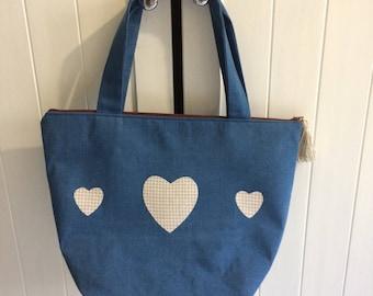 Denim hearts bag