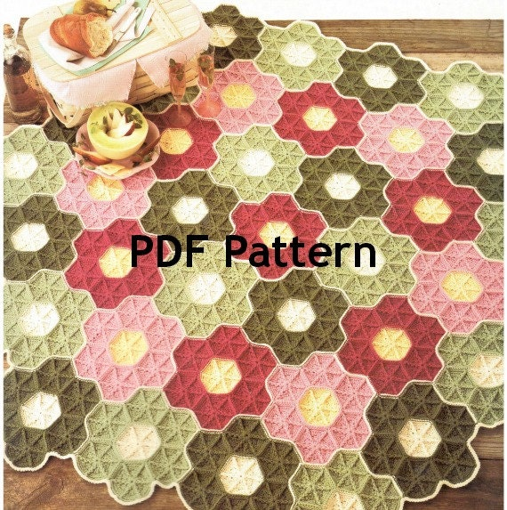 Vintage Granny Square Hexagon Flower Garden Afghan Crochet
