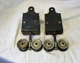 Barn Door Rollers, Set of 2, Sliders or Gliders, Architectural Salvage Vintage Hardware, Antique Door Hardware