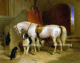 "Horse and Dogs Art Print, ""The Stable"" Art Print Home Decor  #613"