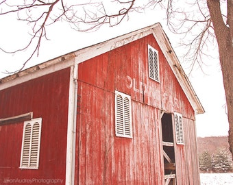 Modern Farmhouse Art, Red Barn Photography, Rural Decay, Abandoned Barn, Rustic Wall Decor, Home Decor, Fine Art Photography, Barn Picture