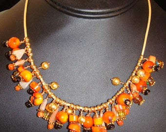 Orange Coral, Citrine, Black Jade with Gold Vermeil Accents Bubble Necklace & Earrings on Leather