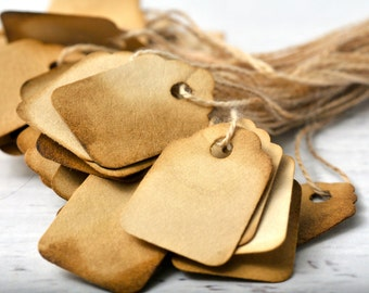 READY TO SHIP | Coffee stained tags. Extra small jewelry price tags coffee soaked tags