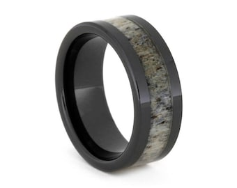 Deer Antler Ring in Black Ceramic Band, In-Stock and Ready to Ship, Signature Style