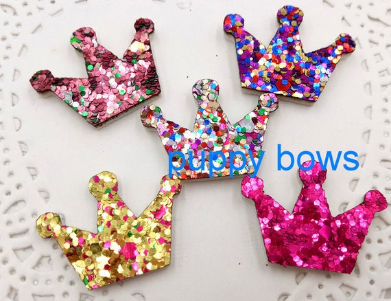 "Puppy Bows ~SUPER TINY 1"" glitter dog bow pet hair clip set of 6 bows! butterfly, crown, bowknot, flower, star, heart  ~Usa seller  (fb38)"