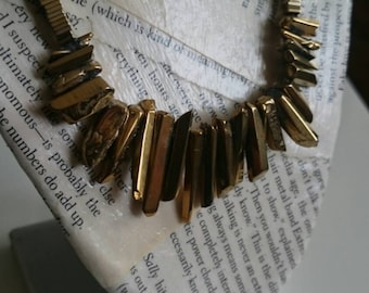 Gold luster nugget necklace