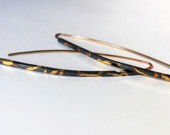 Silver drop earrings, keum boo earrings, long silver earrings, wabi sabi, gold earring, modern earrings, dangle earring, oxidized, kum boo