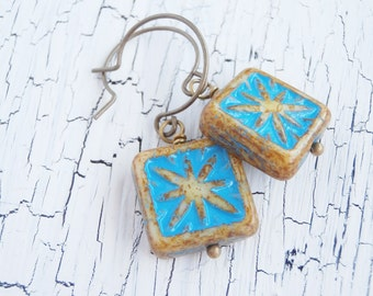 Beaded Earrings - Sunburst Fossil - Pressed Czech Glass Turquoise Earrings