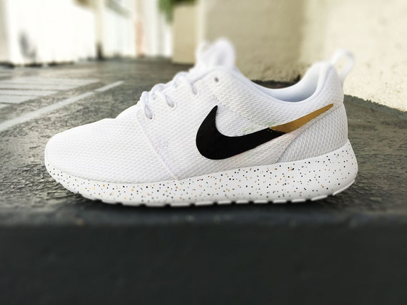 purchase cheap 9485b abb2c ... custom nike roshe run sneakers for women all white black and gold silver  specles gold flakes
