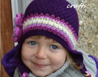 Hat for girls, Handmade Crochet hat for girls,  flower hat, purple hat