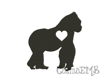 8 Size Gorilla silhouette Embroidery design Machine Embroidery - Digital INSTANT DOWNLOAD