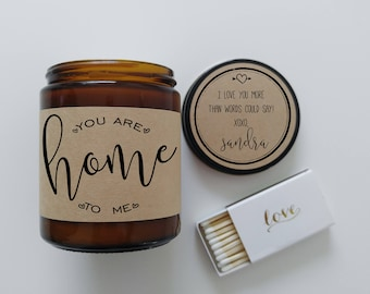 Valentine Gift for Him To Me You Are Home Soy Candle Gift for Her Gift for Wife Gift for Husband Scented Candle Holiday Gift