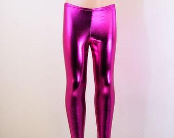 Metallic Fuchsia Pink Stretch Lycra Leggings Pants Child Toddler Kids All Sizes MTCoffinz