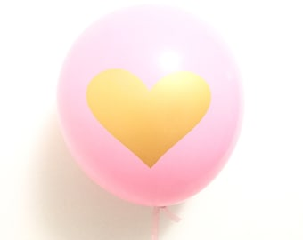 "Pink with Gold Heart 12"" Balloon - Set of 3"