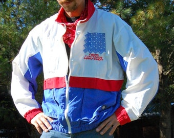 Vintage Red White And Blue starbus windbreaker jacket 1980s