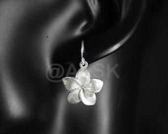 925 STERLING SILVER 28mm Jasmine Flower Brushed Design Dangle Earrings SE10