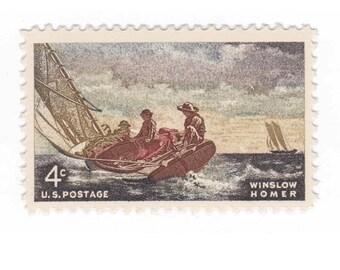 10 Unused Vintage Postage Stamps - 1962 4c Winslow Homer - Item No. 1207