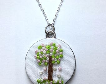 "Pendant necklace ""Spring"" embroidered, Season collection"