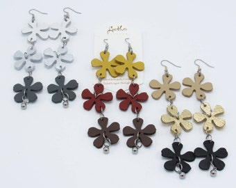 Leather Carnation Earrings