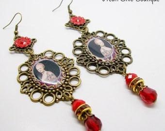 Marie Antoinette Earrings - Statement Earrings - Bronze Marie Antoinette Earrings - Marie Antoinette Dangle Earrings - Marie Antoinette