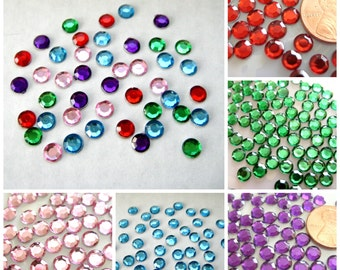 "6 mm Round Rhinestones Faceted Pink, Blue, Red, Green & Purple, Scrapbooking, Embellishments, Invitation Card, 1/4"" (6mm), 150 or 300 pieces"