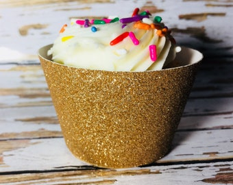 Gold Glitter Cupcake Wrapper, Cupcake Sleeve, 50th Anniversary party, Birthday cupcake wrapper, Custom cupcake wrapper, Bridal Shower