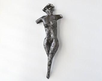 Sexy nude, metal torso, wire mesh sculpture, abstract torso, metal wall art sculpture, metal sculpture