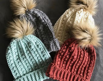 Handmade Crochet Slouchy Beanie with Fur Pom -Assorted Colors- Ready to Ship