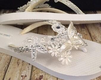 Olivia Ivory Bridal Flip Flops, Lace Flip Flops, Ivory Flip Flops Custom Flip Flops, Dancing Shoes Ivory Bridal Sandals, Beach Wedding Shoes