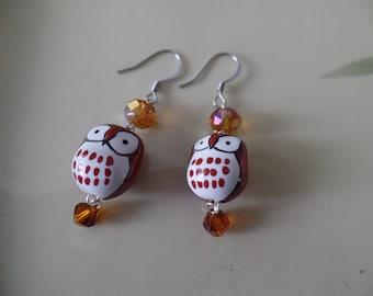 Beaded Red Owl Earrings