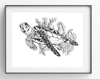 Sea Turtle~Pen & Ink~Coastal Art~Digital Art~Printable Art~INSTANT DOWNLOAD