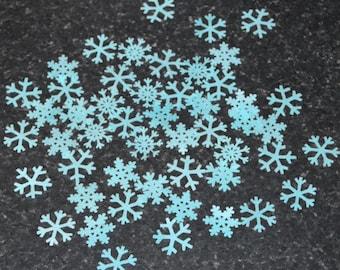 Edible Snowflakes Ice Blue Mini Wafer Rice Paper Cake Decoration Winter Cupcake Topper Wonderland Wedding Cookie Decor Baking Baker Gift