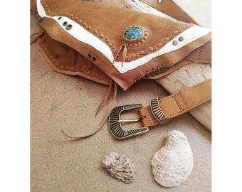 MUNA handmade leather utility belt in brown and cream colours with Turquoise gemstone