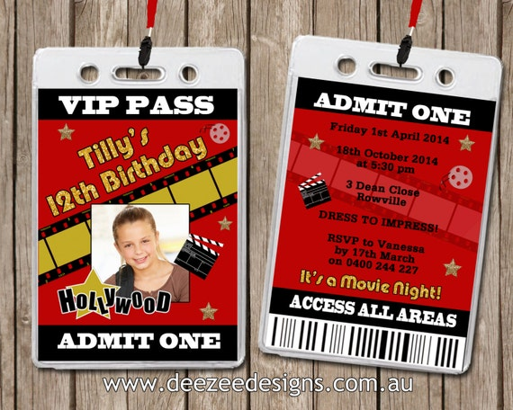 Photo Personalised Hollywood Movie VIP Lanyard Invitations x