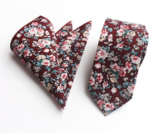 Burgundy Floral Skinny Tie & Pocket Square | floral tie | flower tie | skinny tie | wedding tie | wedding ideas | ideas | groom | red tie