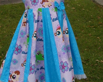 Custom Boutique Twirl Dress Designed with Littlest Pet Shop Fabric 2T-6X