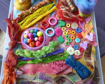 Hope jacare - Creativity pack  - hand dyed cotton threads, fabric and other goodies - CP23