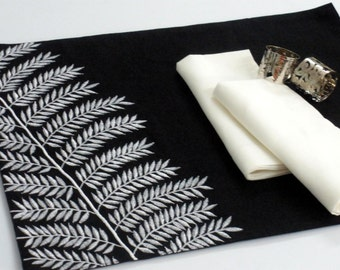 Placemats, Black and White Placemat, Linen Placemat set of 4, Black Linen white fern embroidery, Table Linen, Fabric Placemats, Customized