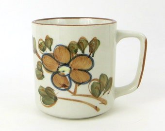 Vintage floral stoneware mug