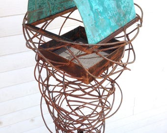 Sculptural Steel & Copper Bird Feeder No. 363 - Freestanding unique modern bird feeder