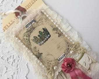French Crown Gift Tag Rose Lace Tag, Mixed Media Art Tag, French Gift Tag