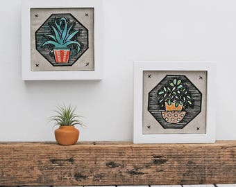 Pair of Framed Succulent Linen Prints